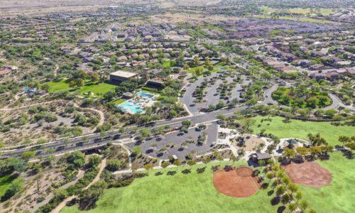 Aerial view of the community center, pools, and baseball fields in The Village at Vistancia in Peoria, Arizona