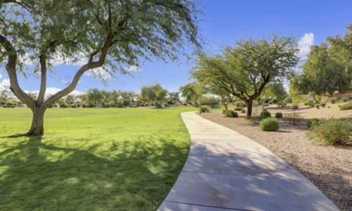 Walking path through common area in Dove Valley Ranch in Peoria, Arizona