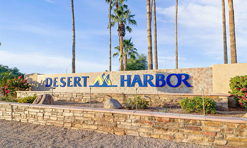 Entrance sign at Desert Harbor in Peoria, Arizona