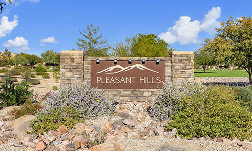 Entrance sign for Pleasant Hills at Dove Valley Ranch in Peoria, Arizona