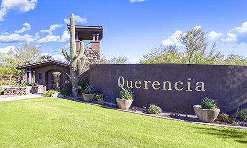 Entrance sign at Querencia in Peoria, Arizona