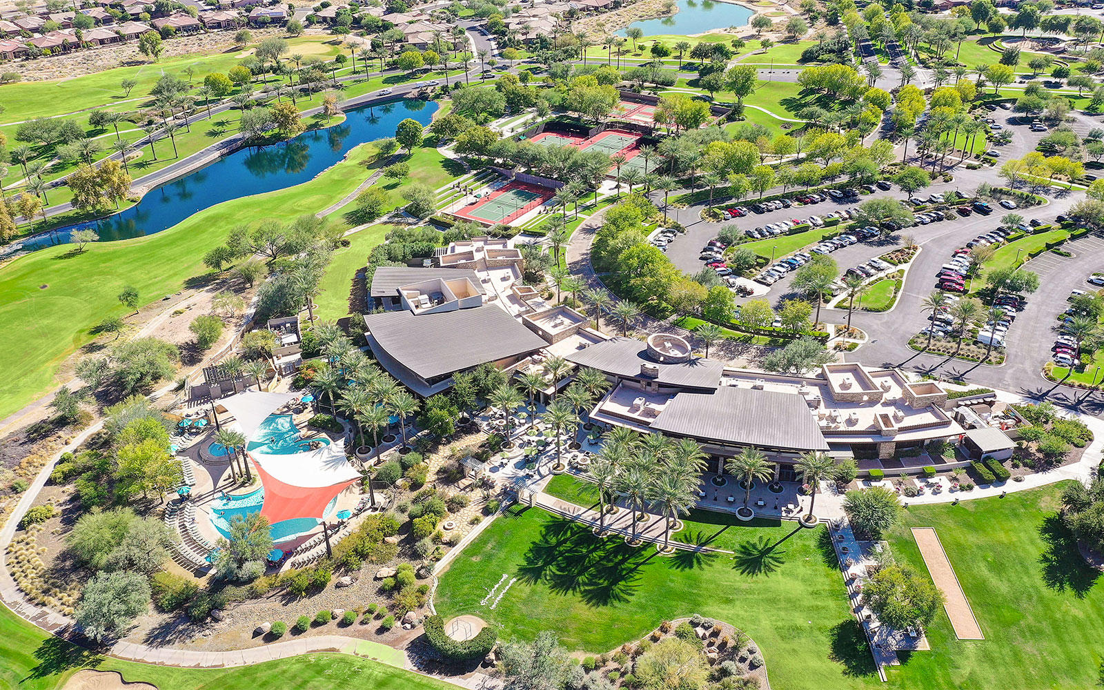 Aerial view of the Kiva Club and surrounding golf course in Trilogy at Vistancia in Peoria, Arizona