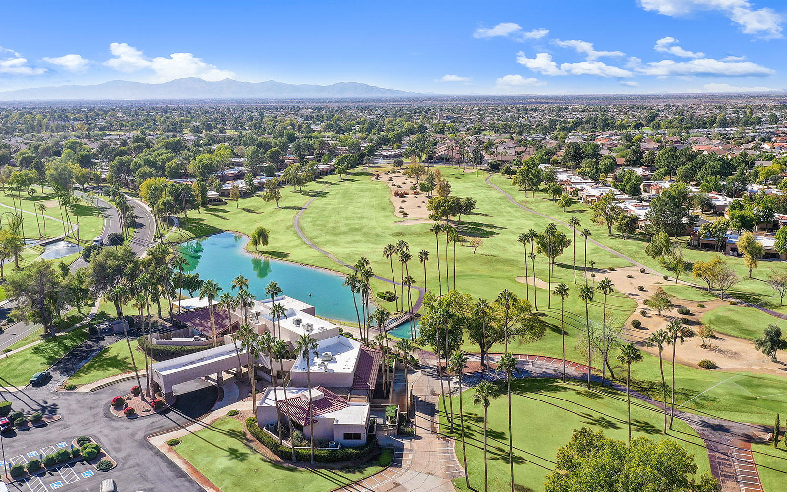 Aerial view of the golf course at the Westbrook Village Golf Club in Peoria, Arizona