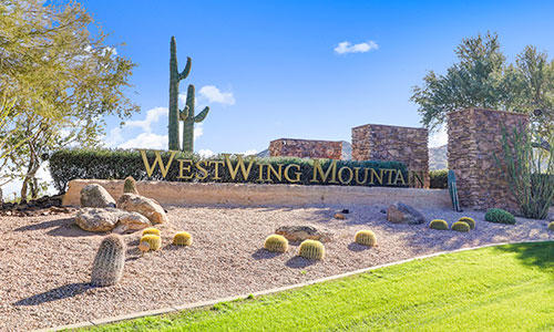 Entrance sign at WestWing Mountain in Peoria, Arizona